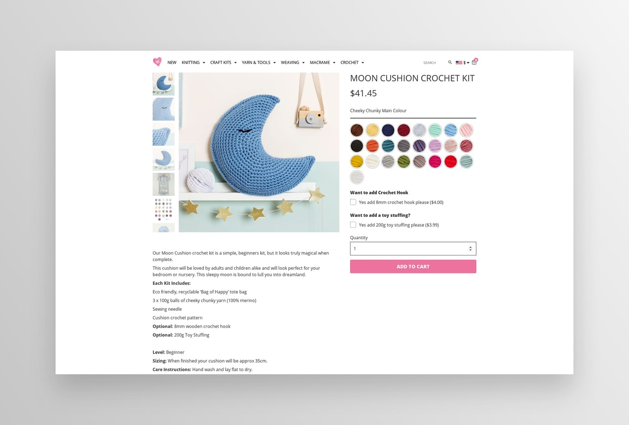 moon cushion crochet kit with extra options for colors, hooks, and stuffing